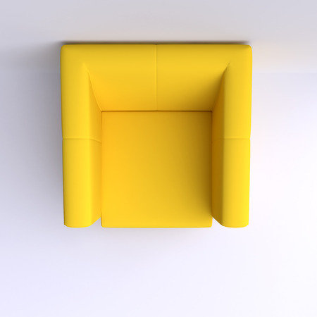 view: Easy chair in corner of the room. Top view. 3d illustration.