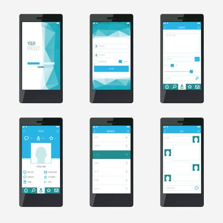 interface design: Template mobile application interface design.
