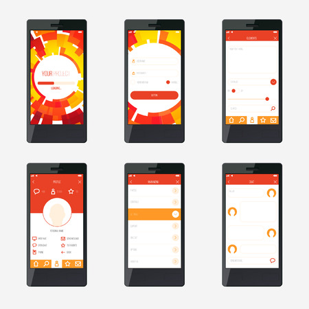 smartphone icon: Template mobile application interface design.