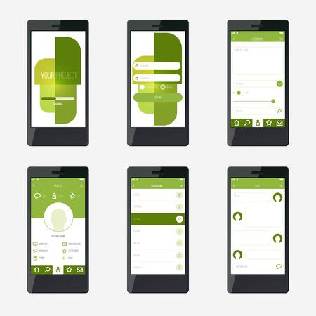 mobile application: Template mobile application interface design.