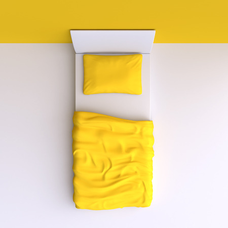 Bed with pillow and blanket in the corner room, 3d illustration. Top view. Фото со стока