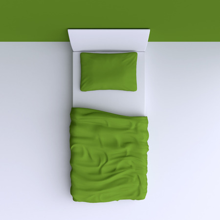 blanket: Bed with pillow and blanket in the corner room, 3d illustration. Top view. Stock Photo