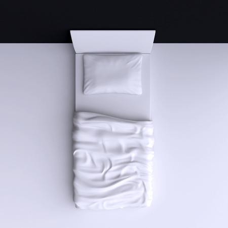 角部屋、3 d イラストレーションで毛布と枕が付いているベッドします。平面図です。 写真素材
