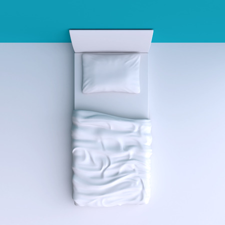 duvet: Bed with pillow and blanket in the corner room, 3d illustration. Top view. Stock Photo