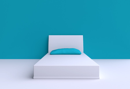 duvet: Bed with pillow in the corner room, 3d illustration. Top view.