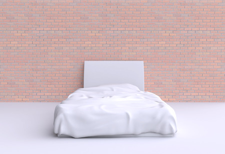 duvet: Bed with pillow and blanket in the corner room, 3d illustration. Front view.