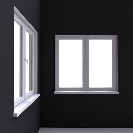 architectural styles: Two white window in the corner of the room. 3d illustration. Stock Photo