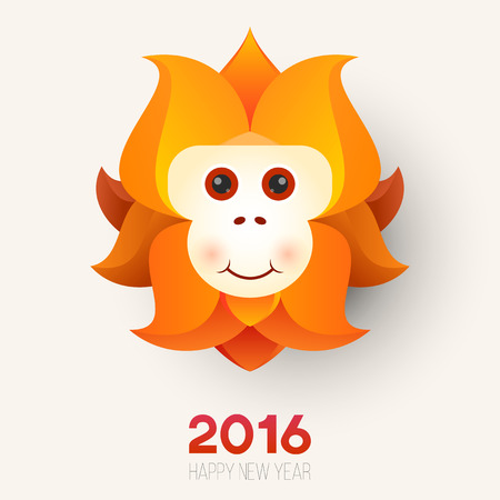 chinese new year card: Cartoon red monkey head. The symbol of  new year.