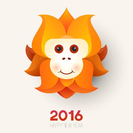 Cartoon red monkey head. The symbol of  new year.