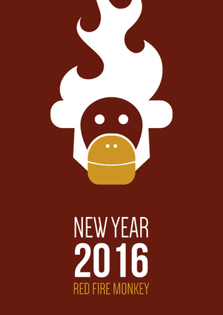 abstract gorilla: Design inspiration for business, advertising, holiday, branding with symbol of 2016 year is monkey