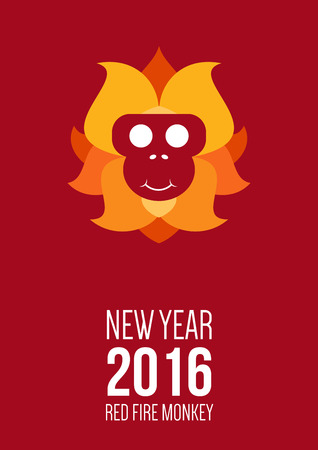 polygraph: Design inspiration for business, advertising, holiday, branding with symbol of 2016 year is monkey