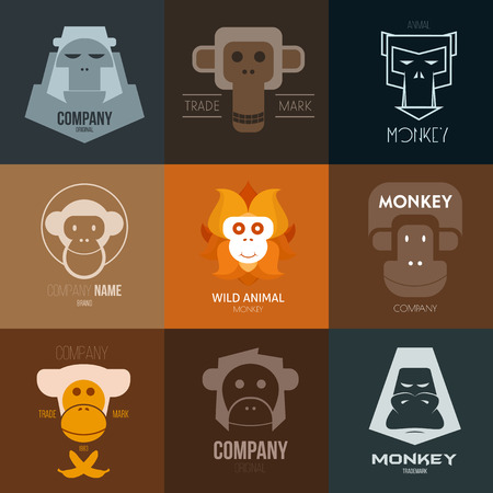 monkey face: Vector Illustration, graphic elements editable for design.