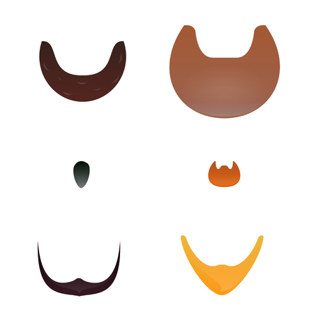 actual: Set cartoon of beard silhouettes. Beard collection. For character inspiration.