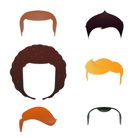 hair cutter: Cartoon male head with haircut assortment. Design inspiration.