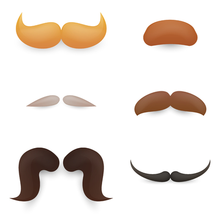 hombres negros: Vector set of mustache. For character inspiration. Vectores
