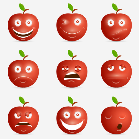 Red apple with many expressions. Design inspiration.