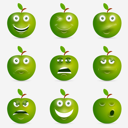 Green apple with many expressions. Design inspiration. Illustration