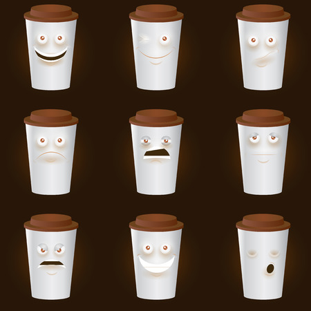 hot drinks: Coffee Cups Characters - Cute set of 8 coffee cups characters. Eps10