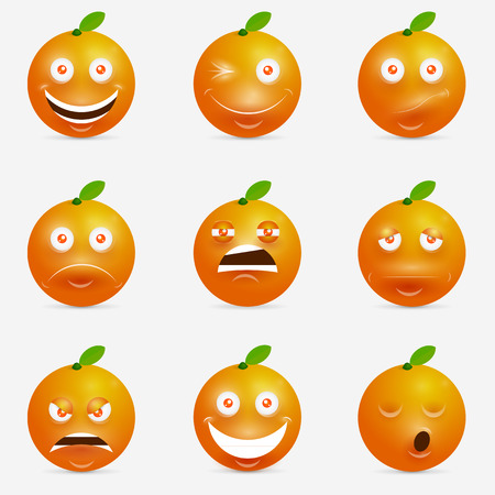 Orange cartoon with many expressions. Design inspiration for characters. Illustration