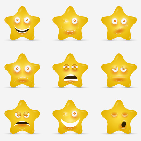 sneer: Yellow stars with emotional faces in cartoon style or idea of logo.
