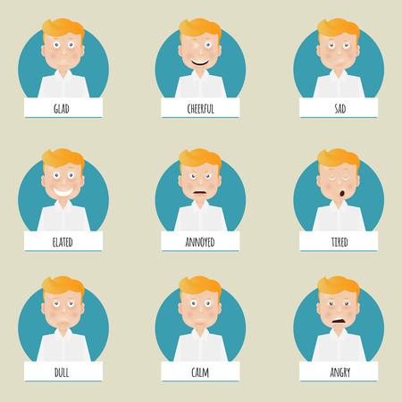persona feliz: Nueve emociones caras de dibujos animados para los personajes de vectores.