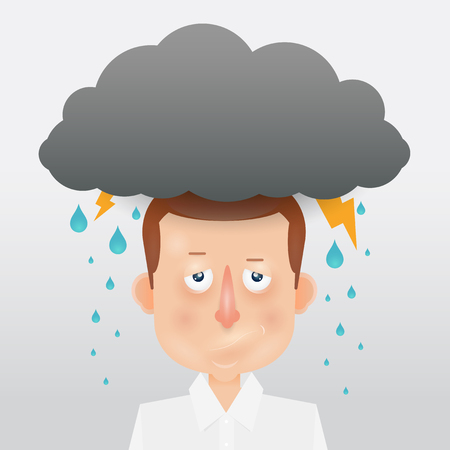 clouds cartoon: Cartoon young man with a gray cloud on the head. Mood and emotional state.