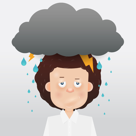 state of mood: Cartoon young man with a gray cloud on the head. Mood and emotional state.