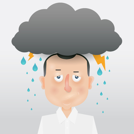metaphors: Cartoon young man with a gray cloud on the head. Mood and emotional state.