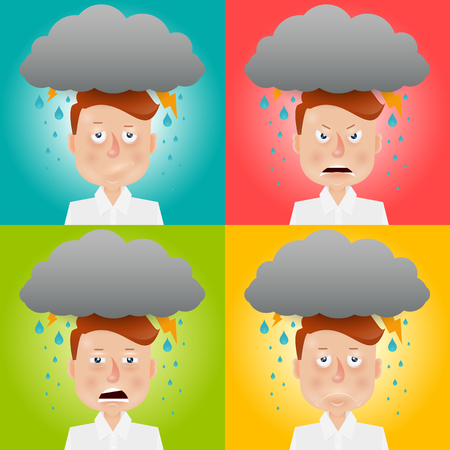 despondency: Cartoon young man with a gray cloud on the head. Mood and emotional state.