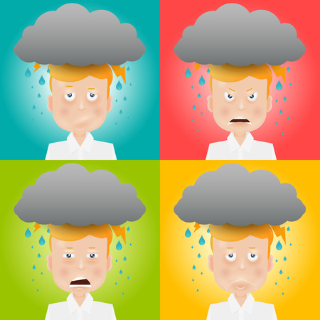 expressing negativity: Cartoon young man with a gray cloud on the head. Mood and emotional state.