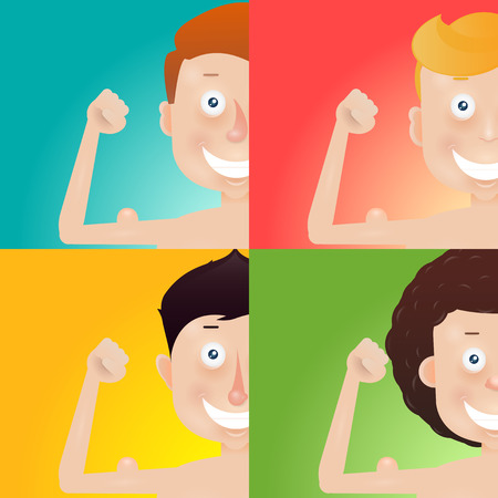arm muscles: Thin cartoon young man with arm muscles. Illustration