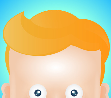forehead: Funny cartoon face of man. With the eyes, forehead and hair.