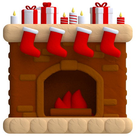 fireplace: Christmas fireplace in plasticine or clay style. 3d illustration.