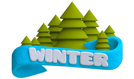 plastic christmas tree: Lettering winter on the blue ribbon with Christmas trees in plasticine or clay style. 3d illustration.