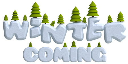 isolated tree: Lettering winter coming with Christmas trees in plasticine or clay style. 3d illustration. Stock Photo