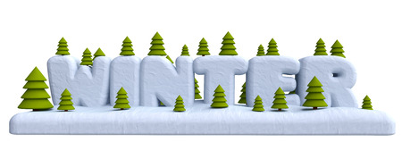 plastic christmas tree: Lettering winter with Christmas trees in plasticine or clay style. 3d illustration.
