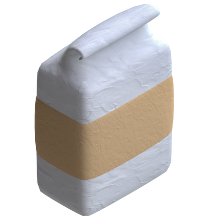 paperbag: Blank paper bag in plasticine or clay style. 3d illustration.