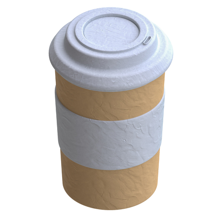 paper sculpture: Paper cup of coffee in plasticine or clay style. 3d illustration.