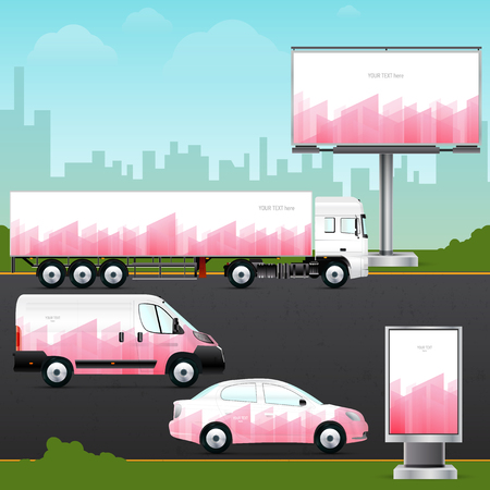 citylight: Template vehicle, outdoor advertising or corporate identity. Passenger car, truck, bus, billboard and citylight. Elements for business, branding and advertising companies.