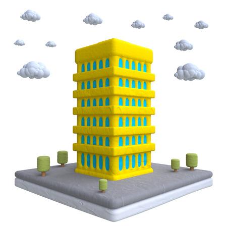 plasticine: Cartoon building in plasticine or clay style. 3d illustration. Stock Photo