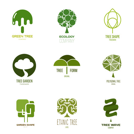 graphic elements: Inspiration for shops, companies, advertising or other business. Vector Illustration, graphic elements editable for design with tree.