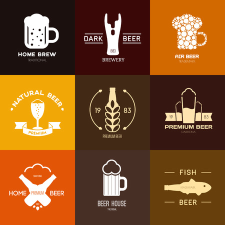 Logo inspiration for shops, companies, advertising or other business. Vector Illustration, graphic elements editable for design with beer.