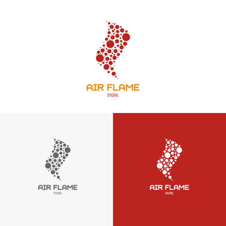 graphic elements: Template logo inspiration for shops, companies, advertising or other business. Vector Illustration, graphic elements editable for design with fire or flame.