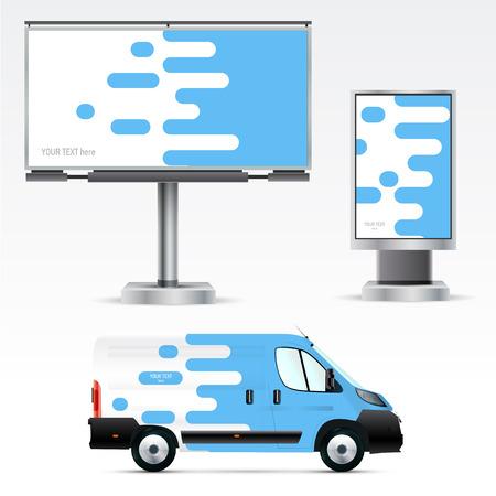 pubblicità esterna modello o identità aziendale sulla vettura, cartellone e citylight. Per le aziende commerciali, di branding e pubblicità.