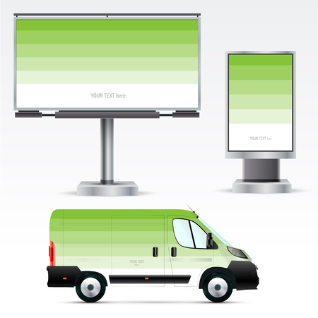 advertise: Template outdoor advertising or corporate identity on the car, billboard and citylight. For business, branding and advertising companies.