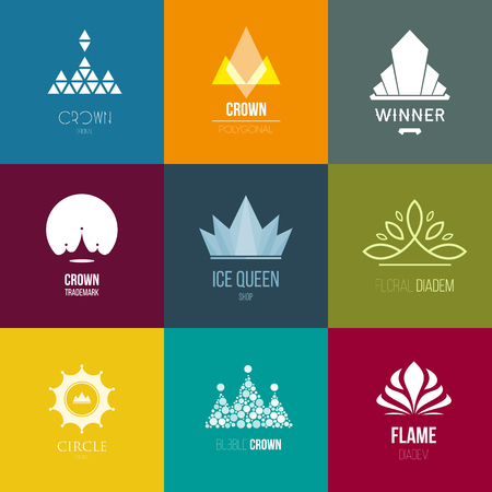 Template logo inspiration for shops, companies, advertising or other business. Vector Illustration, graphic elements editable for design with crown. Logo