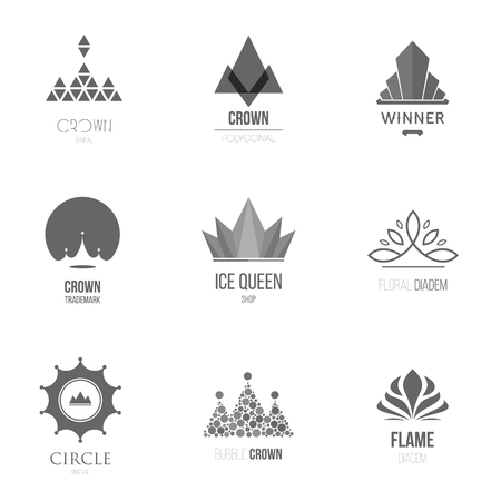 Template logo inspiration for shops, companies, advertising or other business. Vector Illustration, graphic elements editable for design with crown.