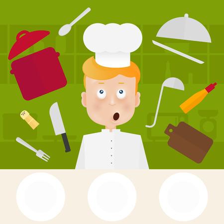 Chef-kok in bel op keuken.