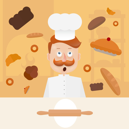 Baker with mustache in hood on kitchen.