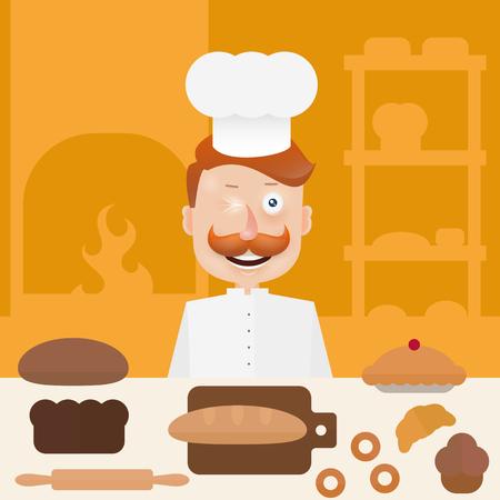 Baker met snor in kap op keuken.